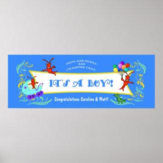 Cajun Critters Baby Boy Banner Poster