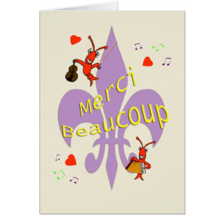 Cajun Fleur de Lis Crawfish Thank You in French Card