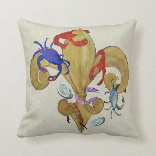 Cajun Fleur de lis throw pillow from art