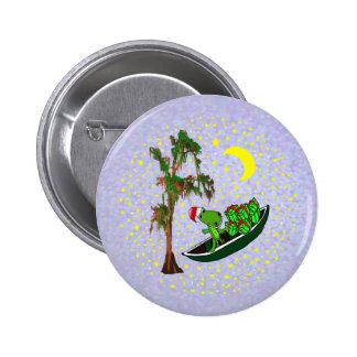 Cajun Santa Alligator in Pirogue Xmas Buttons