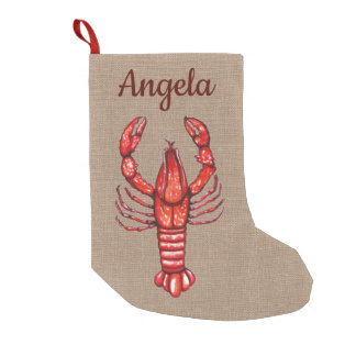 Cajun Watercolor Crawfish & Faux Burlap Small Christmas Stocking