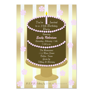 Cake 35th Birthday Party Invitation 35th in Pink