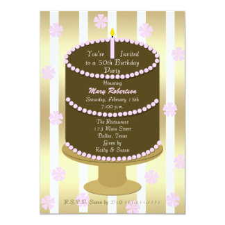 Cake 50th Birthday Party Invitation 50th in Pink