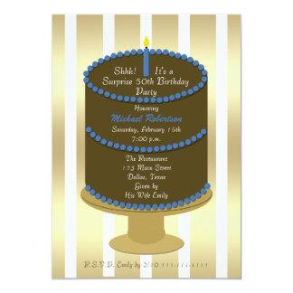 Cake 50th Surprise Birthday Party Invitation
