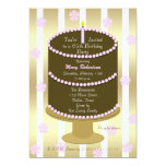 Cake 65th Birthday Party Invitation - 65th in Pink Invites