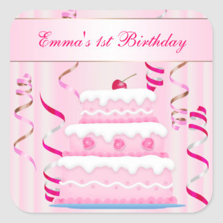 Cake and Streamers Birthday Sticker