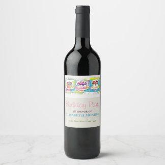 Cake Art Birthday Party Wine Label