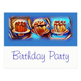 Cake Art Blue Birthday Party Invitation Postcard