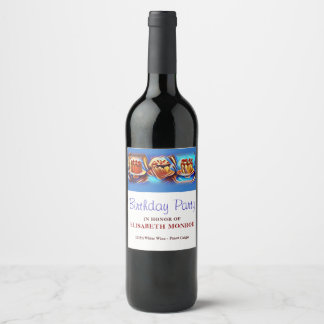 Cake Art Blue Birthday Party Wine Label