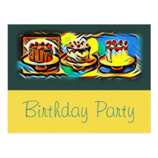 Cake Art Jazz Birthday Party Invitation Postcard