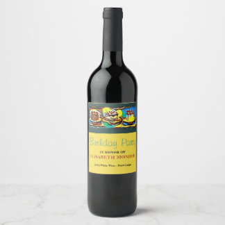 Cake Art Jazz Birthday Party Wine Label