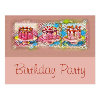 Cake Art Peach Birthday Party Invitation Postcard