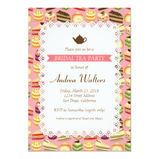"Cake Buffet (Pink) Bridal Shower Tea Party 5"" X 7"" Invitation Card"