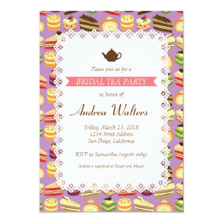 "Cake Buffet (Purple) Bridal Shower Tea Party 5"" X 7"" Invitation Card"