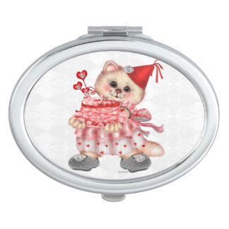 CAKE CAT CARTOON compact mirror OVAL