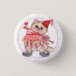CAKE CAT CUTE CARTOON Small, 1¼ Inch 1 Inch Round Button