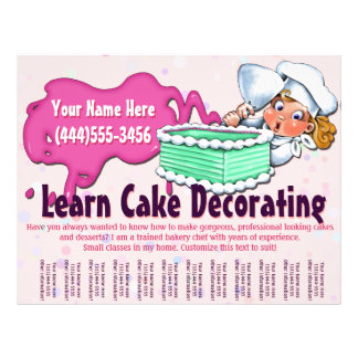 Cake Decorating. Baking. Classes. Lessons Custom Flyer