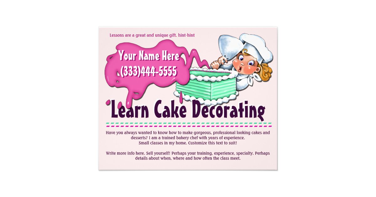 Cake Decorating Baking Classes Lessons Flyer Zazzle Ca