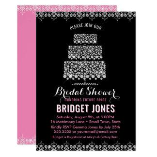 Cake Diamonds Bridal Shower Chic Pink Black Card