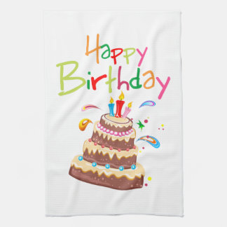 Cake Happy Birthday Kitchen Towel