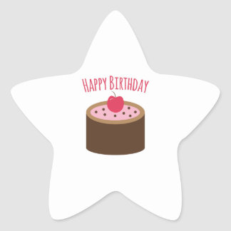 Cake Happy Birthday Star Stickers