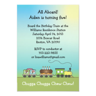 "Cake & Ice Cream Birthday Train - 5x7 size 5"" X 7"" Invitation Card"