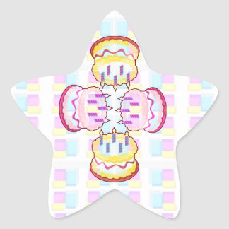 CAKE MANIA :  KIDS would like PLAY with CAKES Star Sticker