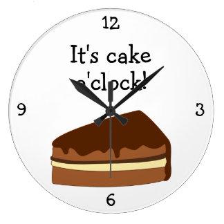 Cake O'Clock fun food graphic Large Clock