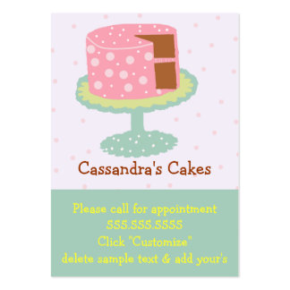 Cake-Pink and Green Large Business Cards (Pack Of 100)