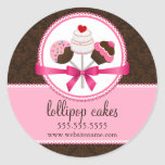 Cake Pops Bakery Box Seals Round Sticker