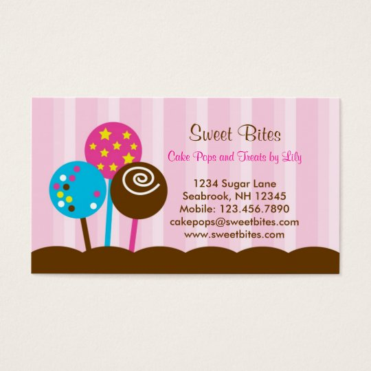 Cake Pops Bakery Business Card Zazzle Ca