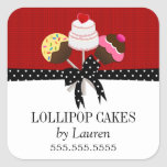Cake Pops Red Stickers