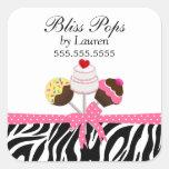 Cake Pops Zebra Stripes Ribbon Bakery Stickers