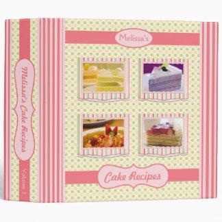 Cake Recipes Pink Green Cream Polka Dots Stripes Vinyl Binder