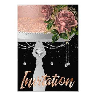 Cake Rose Gold Crystals Invitation Stars Night