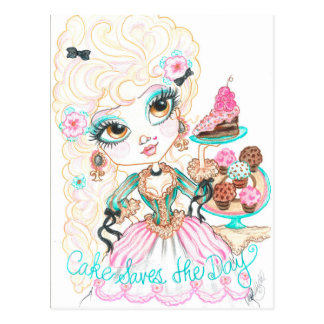 Cake Saves The Day Fantasy Art Postcard