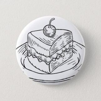 Cake Slice Vintage Retro Woodcut Style 2 Inch Round Button