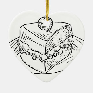 Cake Slice Vintage Retro Woodcut Style Ceramic Ornament