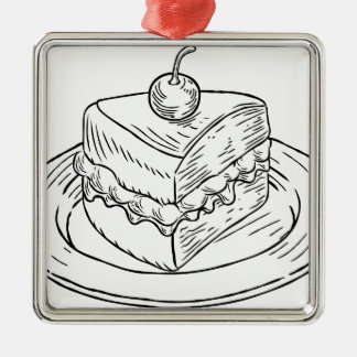 Cake Slice Vintage Retro Woodcut Style Metal Ornament