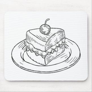 Cake Slice Vintage Retro Woodcut Style Mouse Pad