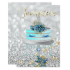 Cake Unicorn Party Glitter Lashes Blue Silver Grey Card