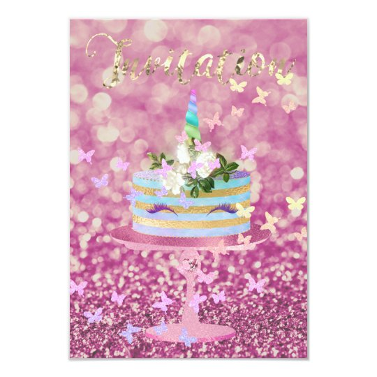 Cake Unicorn Party Glitter Lashes Pink Rose Glam Card