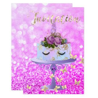 Cake Unicorn Rose Gold Glitter Lashes Amethyst Card