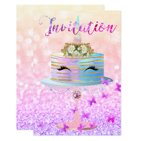 Cake Unicorn Rose Gold Glitter Lashes Bright Pink Card
