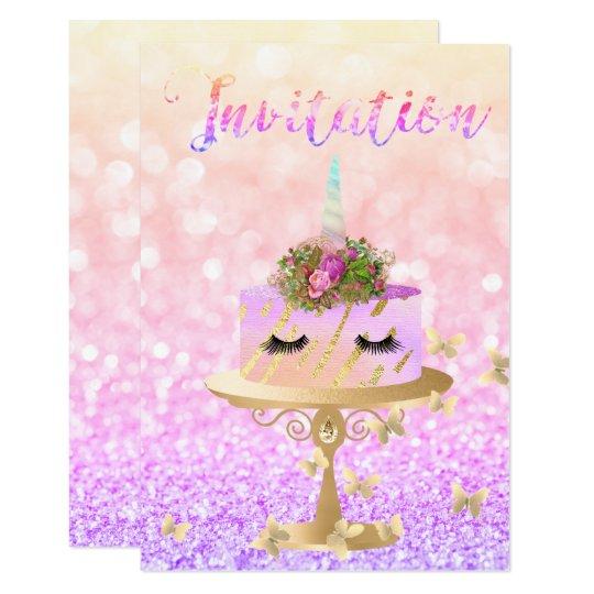 Cake Unicorn Rose Gold Glitter Lashes Rainbow Card