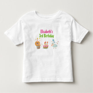 Cake with Party Lion and Balloon Sheep Birthday Toddler T-shirt