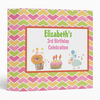 Cake with Party Lion and Sheep Birthday Album Vinyl Binder