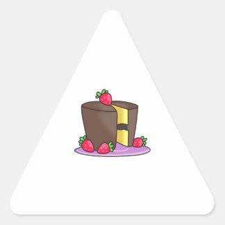 CAKE WITH STRAWBERRIES TRIANGLE STICKER