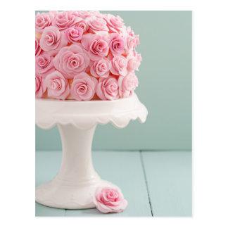 Cake with sugar roses postcard