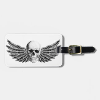 calavera1-winged luggage tag